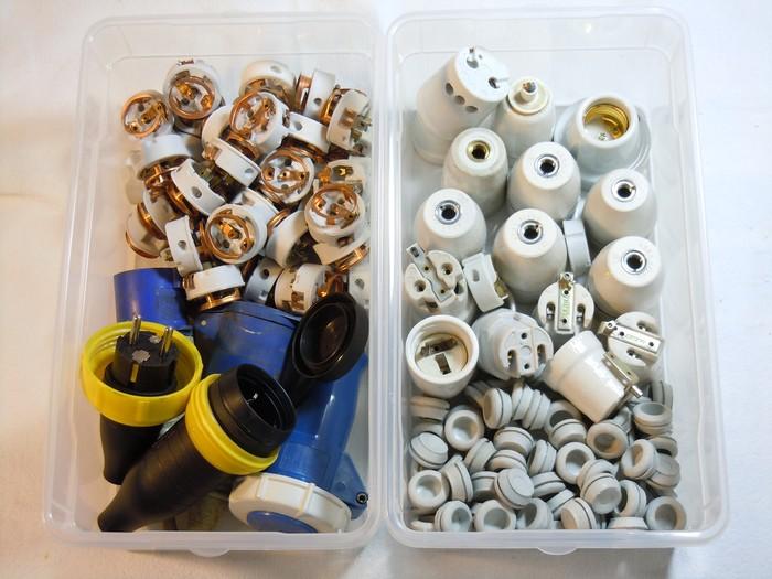 Porzellanfassungen E27, Porzellaneinsätze, WSSG Stecker-Kupplungen